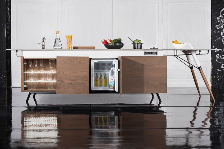 The elements with built in Bosch appliances are only 80cm wide and are in use from both sides