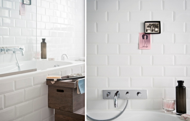 Trendy subway tiles were taken in white to keep the space light