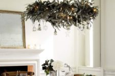03 a hanging wreath chandelier with silver ornaments and lights