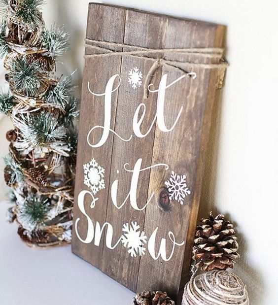 calligraphy christmas wooden sign with snowflakes - Wooden Christmas Decorations
