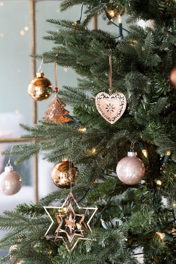 copper and rose gold ornaments for decorating a christmas tree - Rose Gold Christmas Tree Decorations