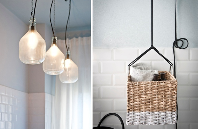 Pendant lamps saved some space and an old basket was repurposed to hold towels