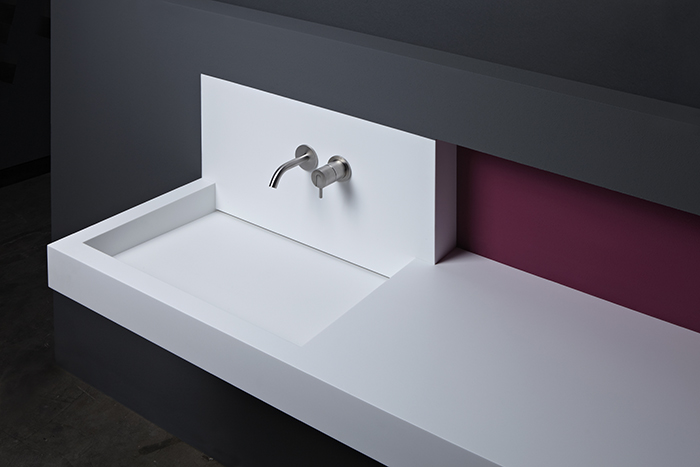 W-Slot is a sleek minimalist white sink with no visible drainage