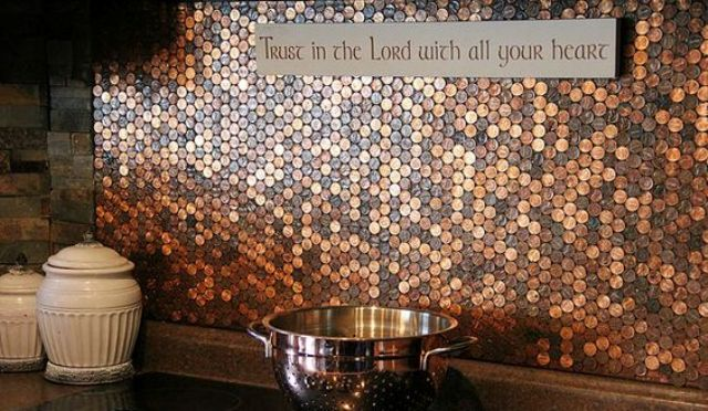 Copper Penny Tile Backsplash
