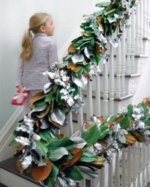 lush faux and natural leaf garland