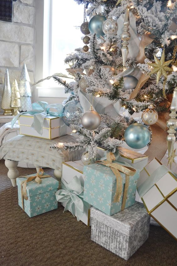 aqua blue, silver and white Christmas decor