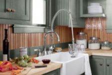 05 gray cabinets with brown beadboard backsplash and butcherblock countertop