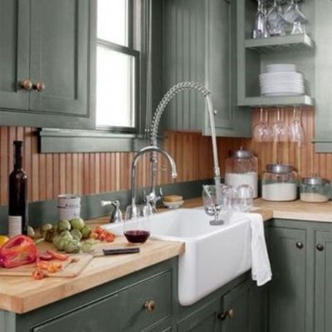 Gray Cabinets With Brown Beadboard Backsplash And Butcherblock Countertop