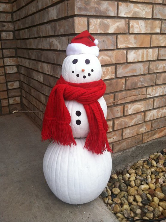 make your own snowman of nig pumpkins, paints, a scarf and a beanie
