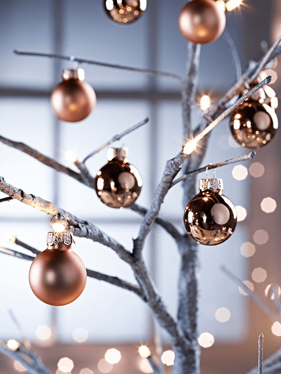matte and glossy mini baubles for winter decor