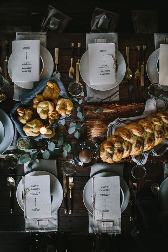 moody Christmas table setting with eucalyptus