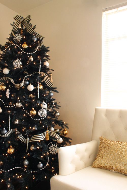 refined black christmas tree with striped ribbon silver and gold ornaments - Black And Silver Christmas Decorations