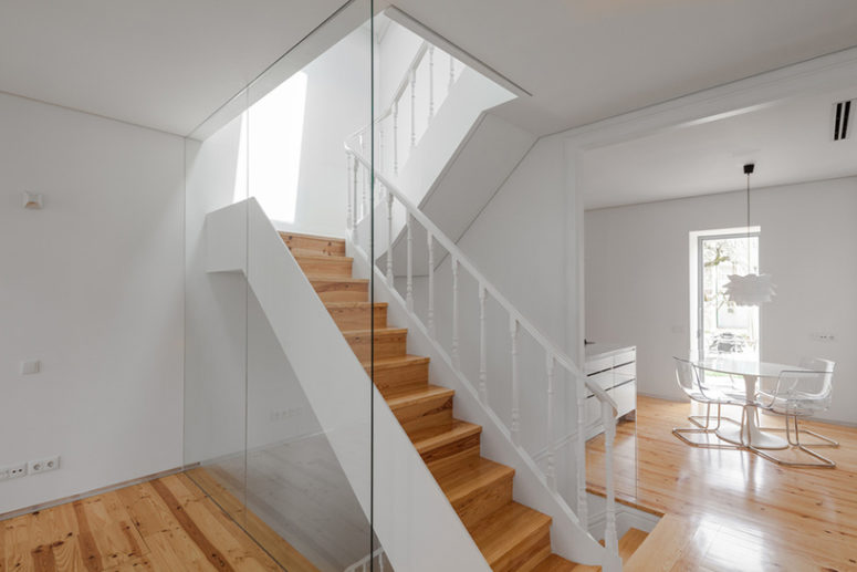 The interior went back to its spacial and functional layout, wooden floors and ceiling structures and the  staircase