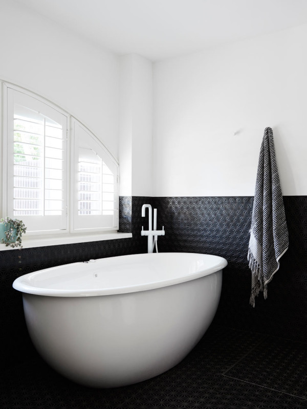 Modern family home with geometric and metallic touches for Charcoal bathroom accessories