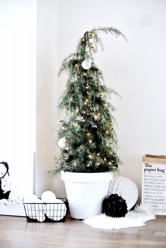 cedar Christmas tree with black and white ornaments