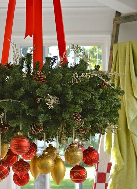 lush evergreen wreath with red ribbon and red and gold ornaments