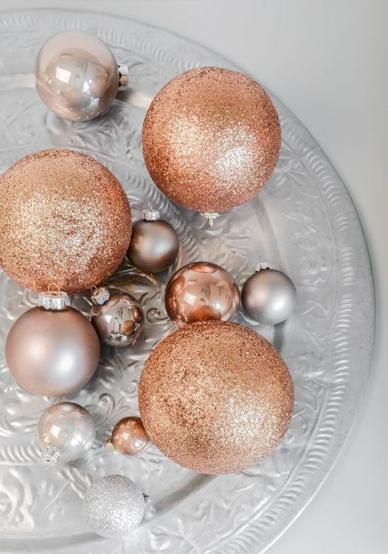 metallic ornament set for decorating Christmas with chic