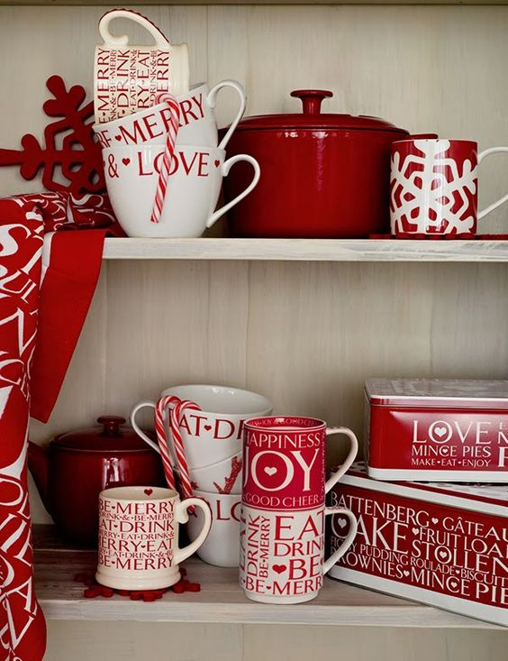 red and white mugs and tins wwill be amazing for Christmas or Valentine's Day