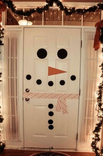 turn your door into a snowman to excite your children