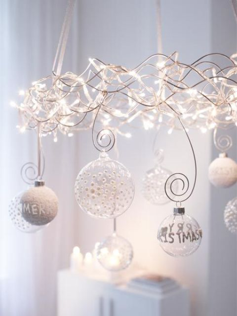 Christmas lights chandelier with transparent and wwhite ornaments