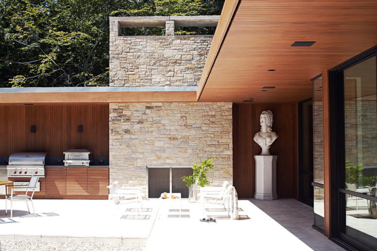 In the courtyard there's an outdoor kitchen and dining zone