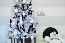 07 a small Christmas tree with black letter decor and pompoms
