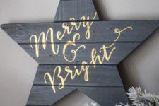07 dark grey reclaimed wooden star sign