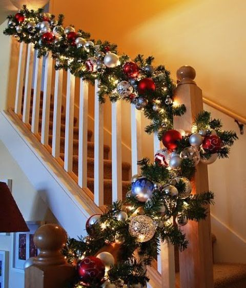 evergreen and ornaments banister garland - Banister Christmas Decorations