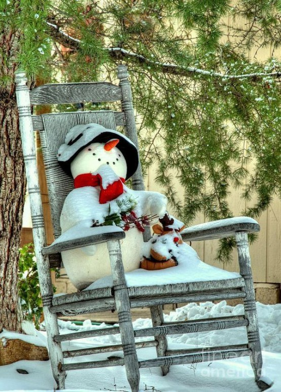 place a toy snowman on your front porch or in the garden