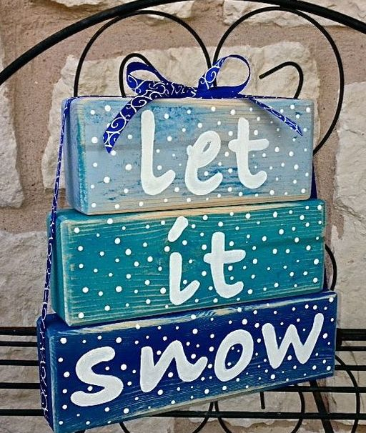 Let It Snow Christmas blue stacked block sign
