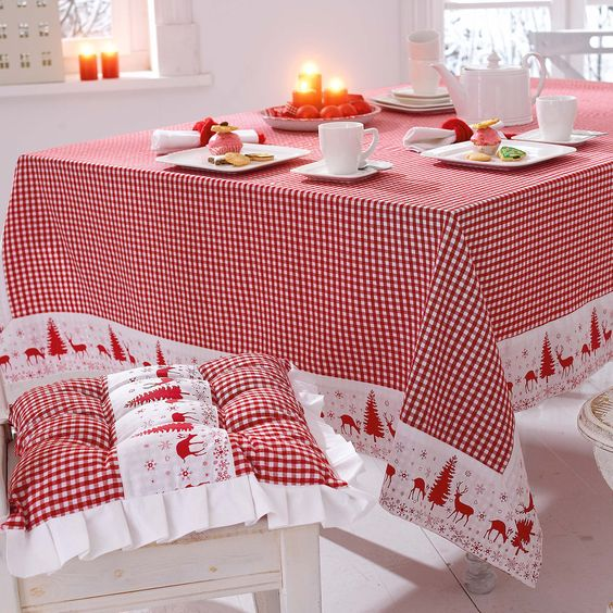 Scandinavian red and wwhite tablecloth and chair cushions