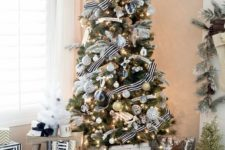 08 chic black and white Christmas tree decor with silver touches for a sparkle