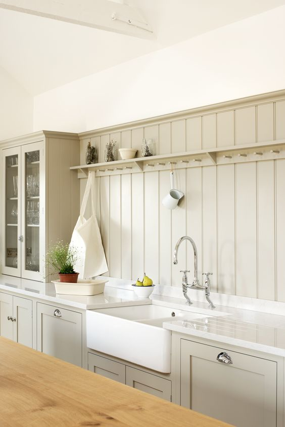 light grey wide beadboard kitchen backsplash