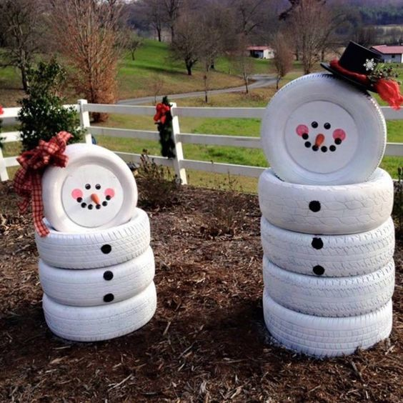 old tires can be turned into fun and easy snowmen in those regions where there's no real snow