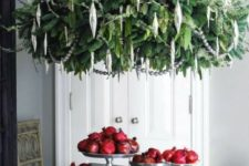 08 oversized green chandelier and silver ornaments will make a statement