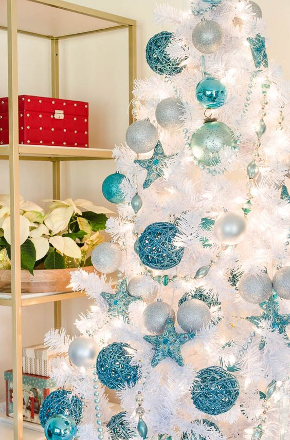 White christmas tree with blue and green decorations - photo#15