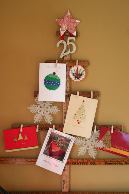 wooden ruler Christmas tree for ahgning cards and pics