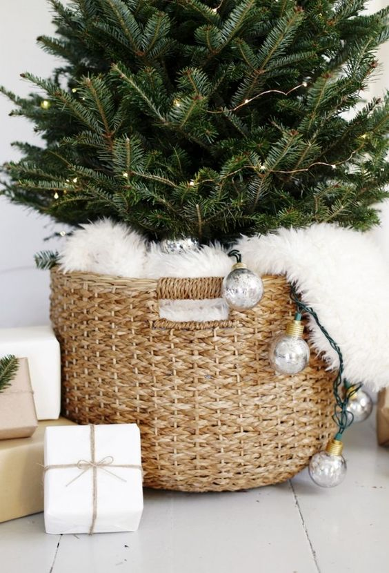 Christmas tree in a basket covered with fur