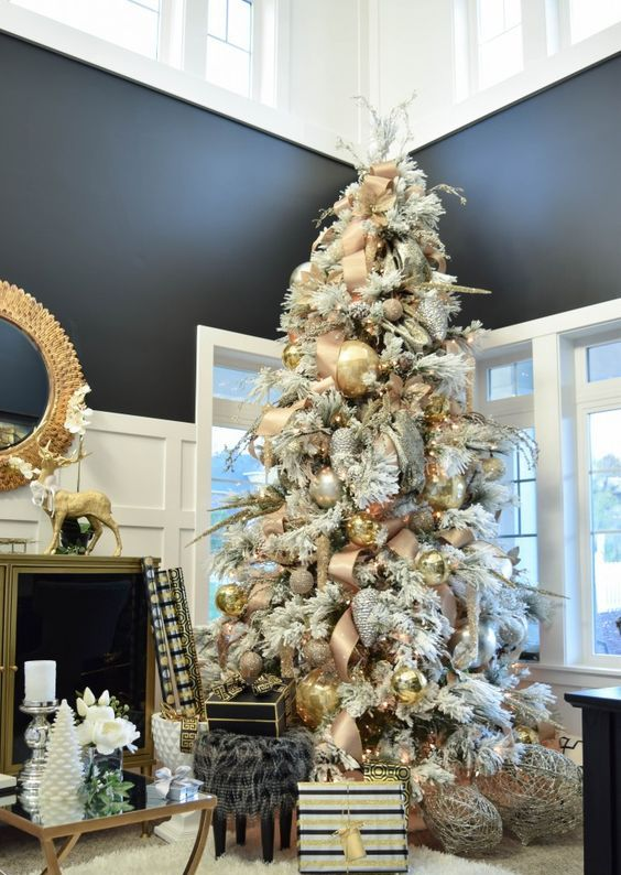 a flocked tree with silver, gold and copper ornaments for a glam look
