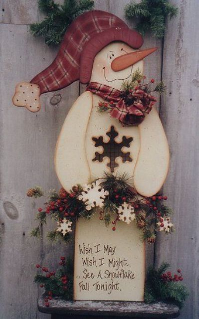 cutout wooden snowman with a sign looks cute