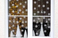 09 small paper snowflakes and white trees for simple window decor