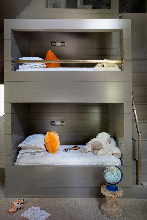 The kids' room is shared, decorated with style for two boys
