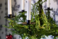 10 evergreen branches and red ornaments are classics