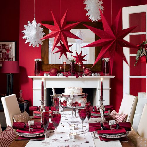 very bold red and white Christmas decor and tablescape