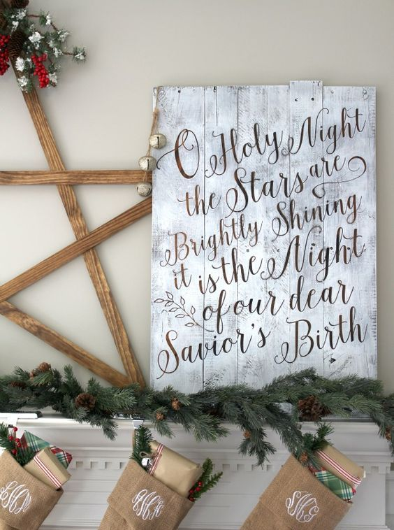 whitewashed pallet sign with calligraphy