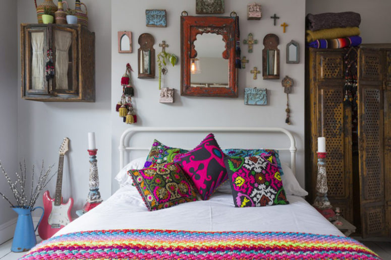 The kid's room is boho chic, with lots of colorful detail and touches