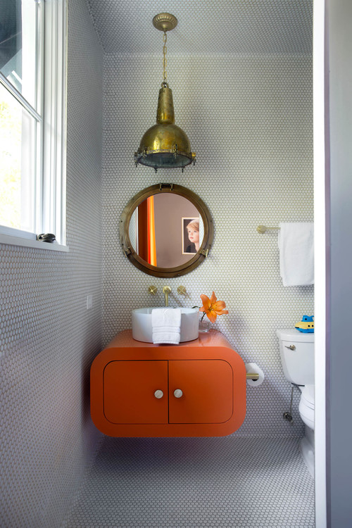 There's also a separate kids' bathroom with bold furniture