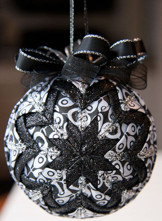 a quilted black and white bauble