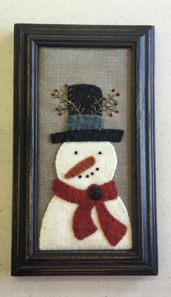 cotton and wool snowman framed artwork for winter decor