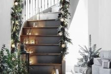11 evergreen garland with pinecones and bauble lights